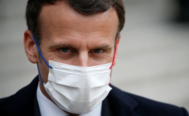 PARIS: French President Emmanuel Macron, wearing a protective face mask.