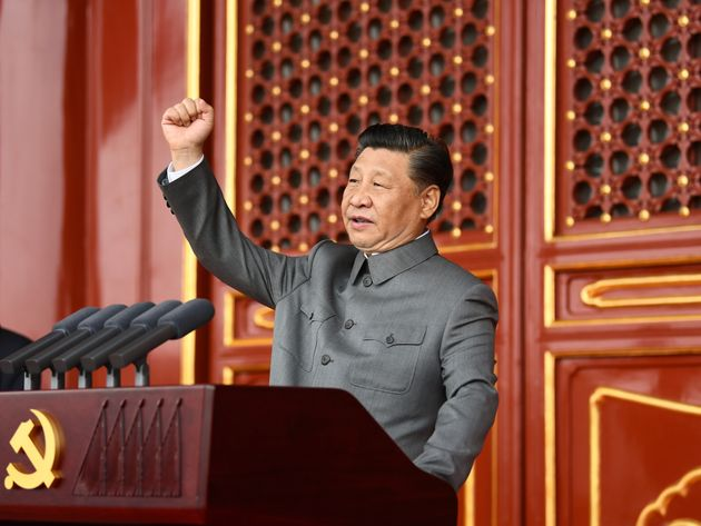 Xi Jinping, general secretary of the Communist Party of China CPC Central Committee, Chinese president and chairman of the Central Military Commission, delivers an important speech at a ceremony marking the 100th anniversary of the founding of the CPC in Beijing, capital of China, July 1, 2021. (Photo by Xie Huanchi/Xinhua via Getty Images)