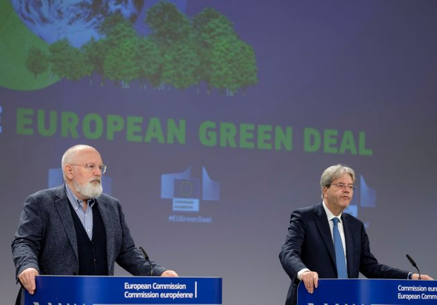 BRUSSELS, BELGIUM - JULY 15: EU Commissioner for European Green Deal - First Vice President and Executive Vice President Frans Timmermans (L) and the EU Commissioner for Economy Paolo Gentiloni (R) are talking to media in the Berlaymont building, the EU Commission headquarter on July 15, 2021 in Brussels, Belgium. EU Commissioners talked about the carbon border adjustment mechanism and the energy taxation. (Photo by Thierry Monasse/Getty Images)