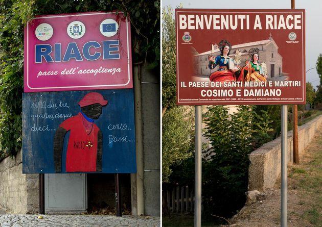In questa combo: (a sinistra) uno dei vecchi cartelli superstiti e (a destra) uno dei nuovi cartelli,...