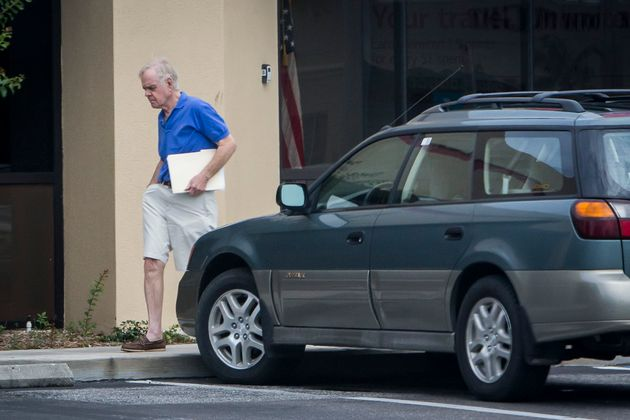 Bill Regnery leaving a Bank of America branch near his home in Boca Grande, Florida, in 2017. Regnery...
