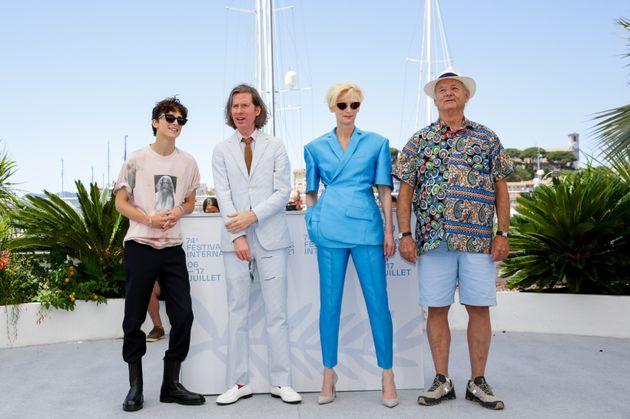 Timothée Chalamet, Wes Anderson, Tilda Swinton and Bill Murray in