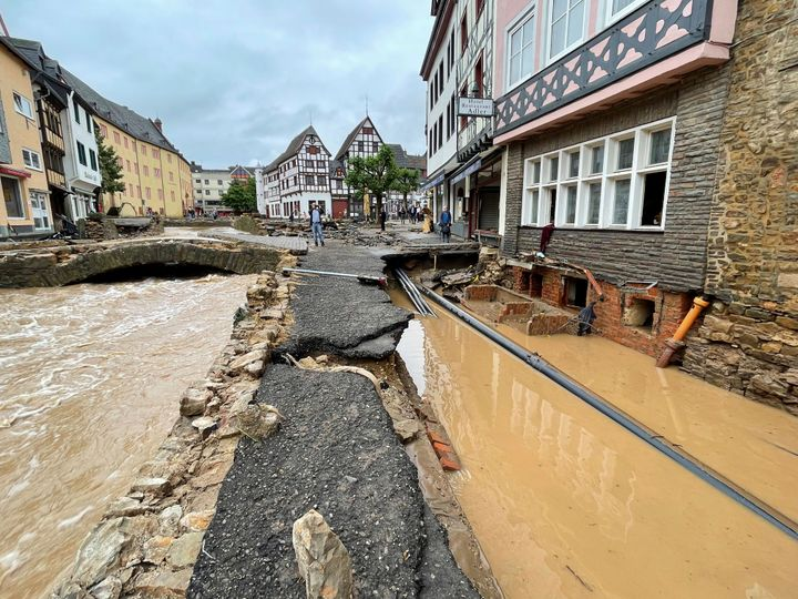 A road is distroyed in Bad Muenstereifel, Germany.