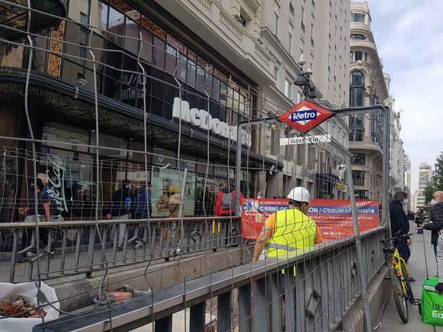 Obras en la estación de metro Gran