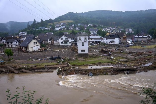 16 July 2021, Rhineland-Palatinate, Bad Neuenahr-Ahrweiler: View of the community of Schuld the day after...