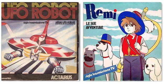 Le copertine di Ufo Robot (Vince Tempera, Ares Tavolazzi, Luigi Albertelli) e di Remì le sue avventure (voce di Gian Paolo Daldello).