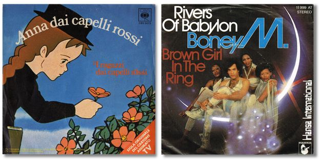 Le copertine della sigla di Anna dai capelli rossi e di Rivers of Babylon dei Boney M.