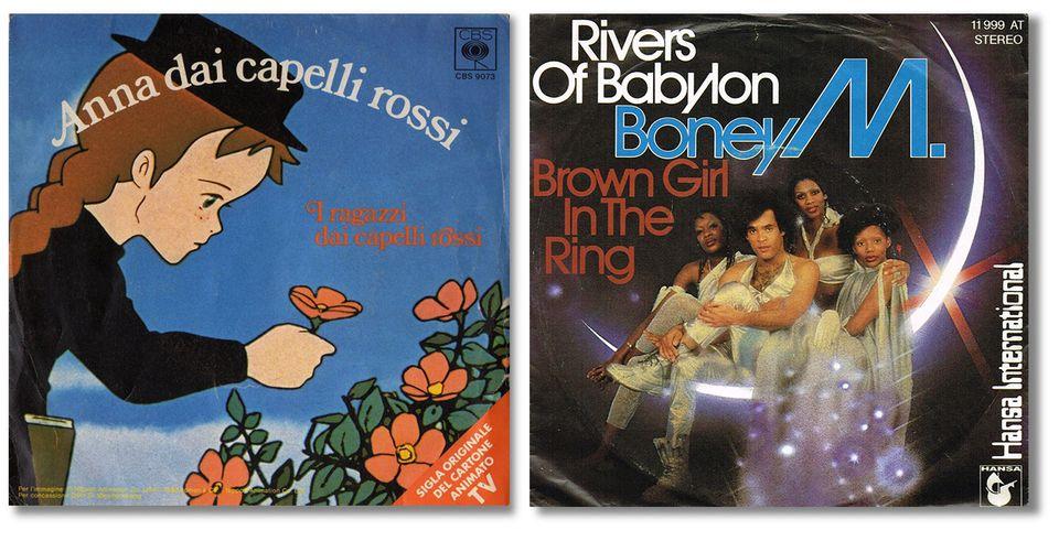 Le copertine della sigla di Anna dai capelli rossi e di Rivers of Babylon dei Boney