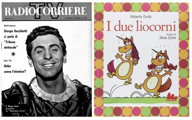 Mago Zurlì (Cino Tortorella) sulla copertina del Radiocorriere e il libro+cd de I due liocorni.