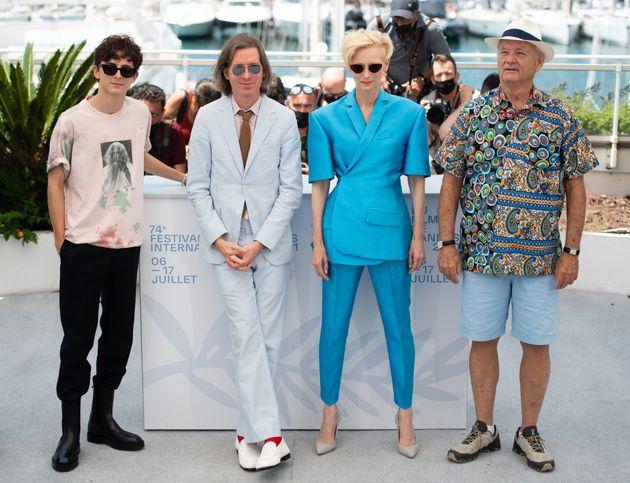Timothee Chalamet, Wes Anderson, Tilda Swinton et Bill Murray avant la diffusion du film