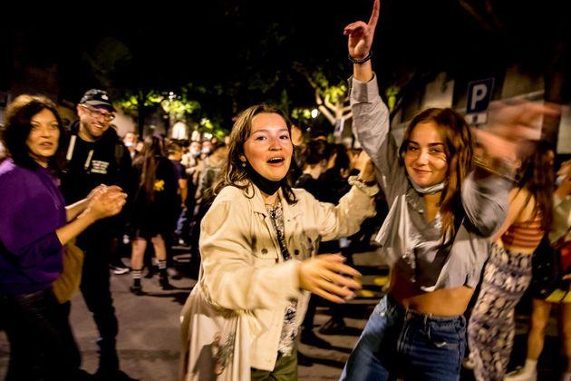 Celebración del fin del toque de queda, el pasado 9 de mayo, en
