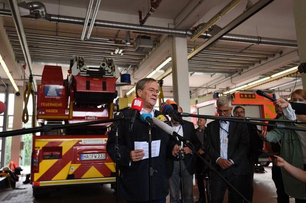 Le candidat CDU-CSU, favori des sondages, Armin Laschet à Hagen, dans l'ouest de l'Allemagne, le 15 juillet