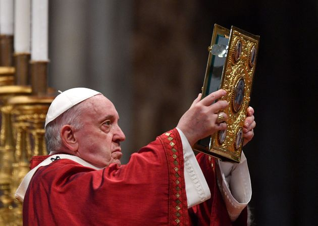 Pope Francis celebrates a mass to mark the feast of apostles Peter and Paul, patrons of Rome, on June...