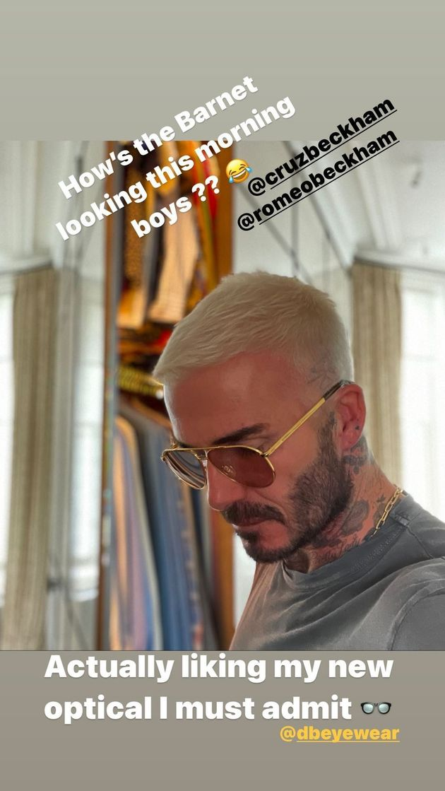 A screenshot of David Beckham's Instagram post, showing off his newly-blond