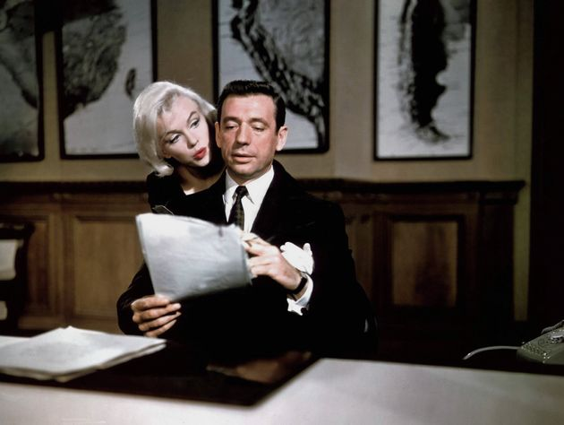 LOS ANGELES - 1960: Actress Marilyn Monroe and Yves Montand in a scene from her 1960 film