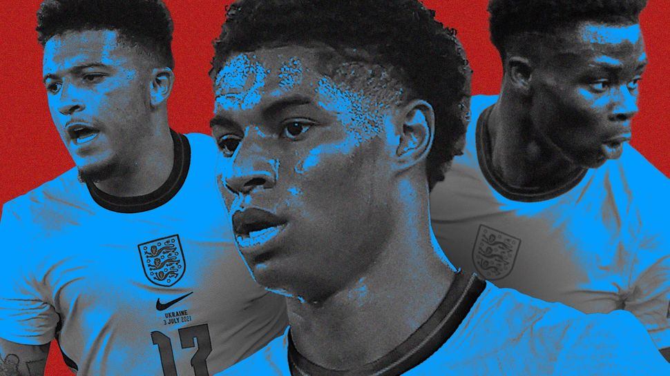 England players Jadon Sancho, Marcus Rashford and Bukayo Saka