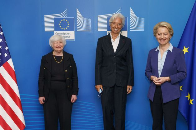 BRUSSELS, BELGIUM - JULY 12: US Treasury Secretary Janet Yellen (L) meets European Commission President Ursula von der Leyen (R) and President of the European Central Bank, Christine Lagarde (C) in Brussels, Belgium on July 12, 2021. (Photo by EU Commission / Pool/Anadolu Agency via Getty Images)