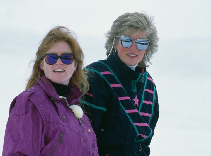 The Duchess of York and the Princess of Wales during a holiday at the ski resort of Klosters, Switzerland, on March 9, 1988.