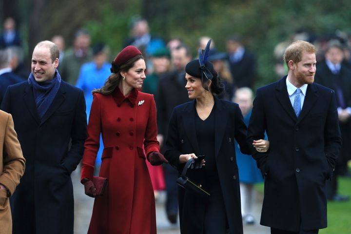 The Cambridges and Sussexes arrive at a Christmas Day service at the Church of St. Mary Magdalene on Dec. 25, 2018, in King's Lynn, England.