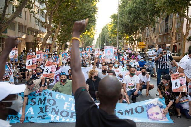 Manifestación contra el racismo en Cartagena (Murcia) el 27 de junio de 2021, tras el asesinato...