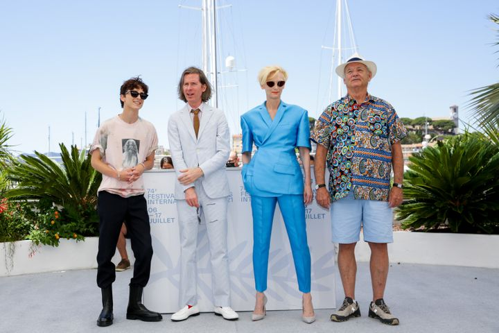 """Timothée Chalamet, Wes Anderson, Tilda Swinton and Bill Murray at the """"The French Dispatch"""" photocall on Tuesday."""