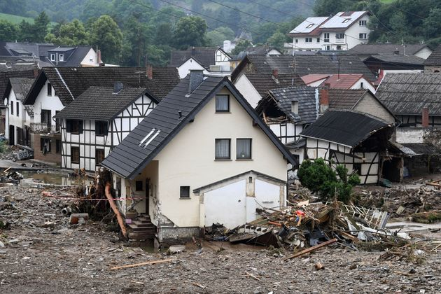 Destroyed houses are seen after floods caused major damage in Schuld near Bad Neuenahr-Ahrweiler, western...