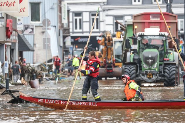 Illustration shows floods in Pepinster after the heavy rainfall of the past days, Friday 16 July 2021....