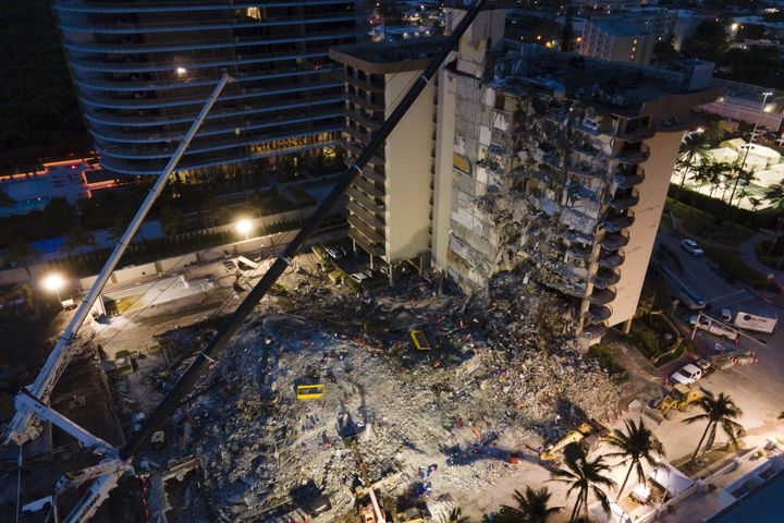 Champlain Towers South is pictured on June 29. The standing section of the building was demolished on July 4.