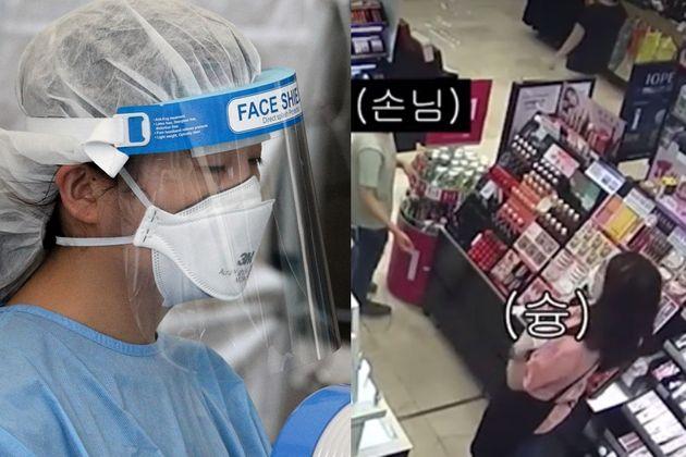 15일 서울 종로구민회관 임시선별검사소에서 의료진이 냉풍기 바람을 쐬며 더위를 식히고 있다(좌), 마스크 착용 요구에 립스틱 던지는