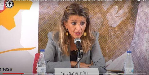 Yolanda Díaz, en el acto de