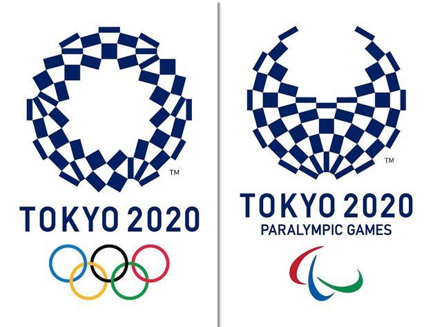 大会エンブレム。オリンピック(左)、パラリンピック(右)