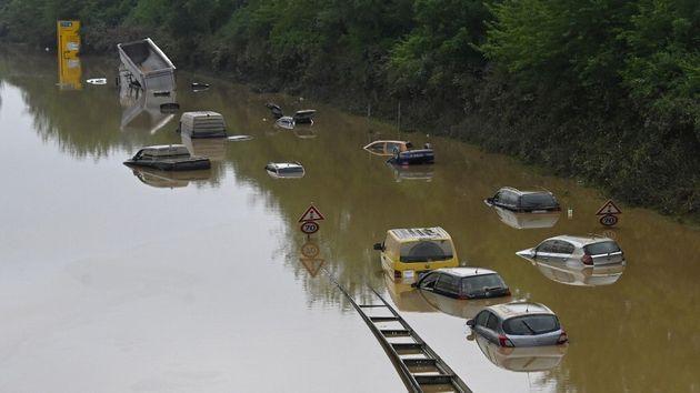 Des inondations à Erftstadt dans l'ouest de l'Allemagne, le 17 juillet