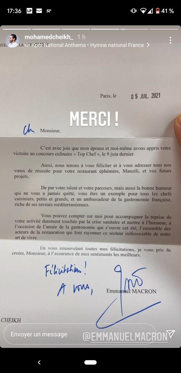 Lettre de félicitations d'Emmanuel Macron à Mohamed