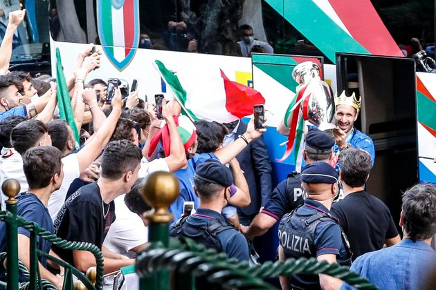 Captain of Italy Giorgio Chiellini carries the trophy after the UEFA EURO 2020 as he arrive in Rome,...