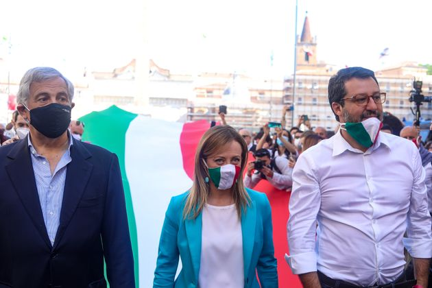 ROME, ITALY - 2020/06/02: (R-L) Head of the Lega party, Matteo Salvini, the head of the Fratelli d'Italia (FdI) party, Giorgia Meloni and co-founder of the Forza Italia (FI) party, Antonio Tajani walk during the centre-right demonstration against the government at Piazza del Popolo giving a voice to the opposition and