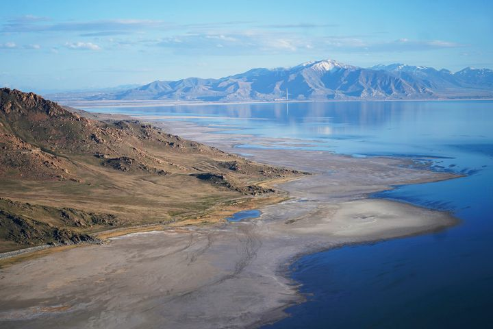 The Great Salt Lake recedes from Antelope Island on May 4, 2021, near Salt Lake City.