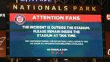 WASHINGTON, DC - JULY 17:  Sign on scoreboard after what is believed to be shots were heard outside the stadium during a baseball game between the San Diego Padres and the Washington Nationals at Nationals Park on July 17, 2021 in Washington, DC.  (Photo by Mitchell Layton/Getty Images)