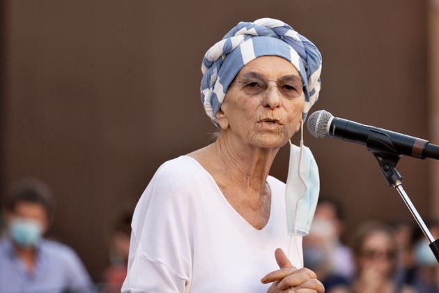 Emma Bonino speaks during the demostration call from left movements and non-governative organizations...