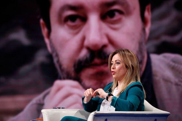 Italian politician Giorgia Meloni guest at Porta a Porta television broadcast, in the background Matteo ...