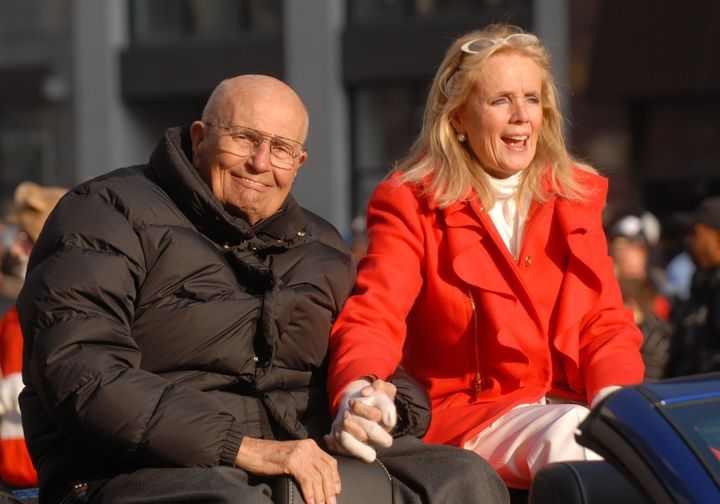 John and Debbie Dingell in 2012, at the Detroit Thanksgiving Day parade, while he was still serving in Congress. She ran for