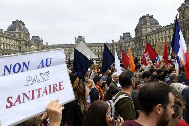 Photo d'illustration prise le 17 juillet à Paris, lors d'une manifestation contre les nouvelles mesures...