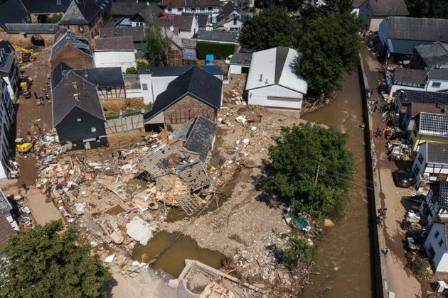 TOPSHOT - An aerial view shows the damaged village of Iversheim in western Germany, on July 18, 2021....