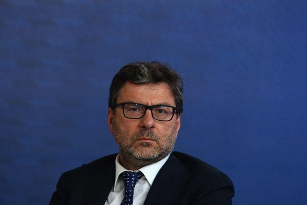 ROME, ITALY - JUNE 09: Italy's Minister of Economic Development Giancarlo Giorgetti attends a press conference...