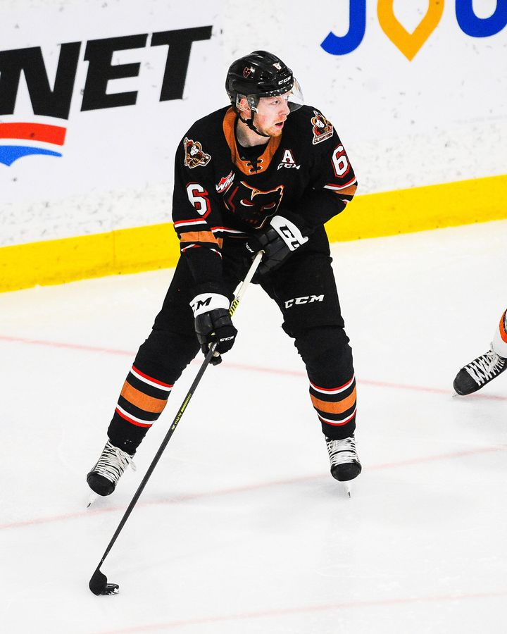 Luke Prokop #6 of the Calgary Hitmen in action against the Medicine Hat Tigers during a WHL game on March 12, 2021 in Calgary