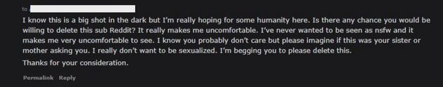 The message Blaire sent to the moderators of the subreddit that was sexually harassing her.