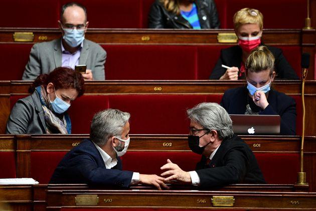 Jean-Luc Mélenchon et Alexis Corbière à l'Assemblée nationale, le 11 mai