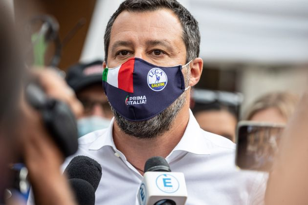 Matteo Salvini senator and leader of the Lega party visits a square set up with gazebos to collect the...