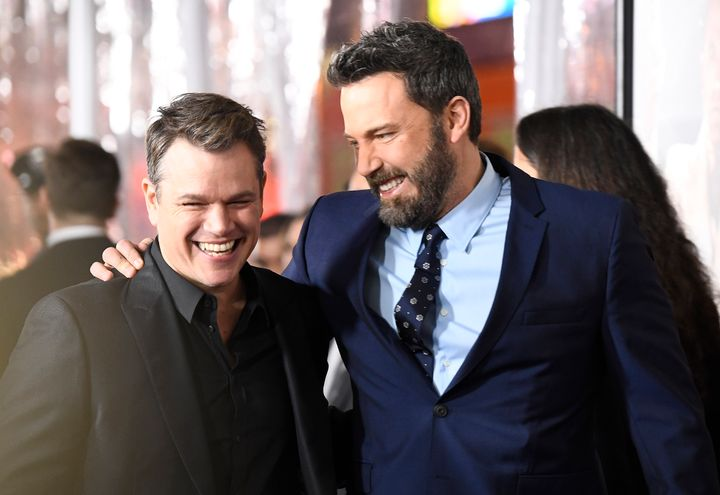 """Matt Damon and Ben Affleck attend the premiere of Warner Bros. Pictures' """"Live by Night"""" on Jan. 9, 2017, in Hollywood."""
