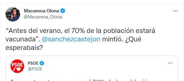 El tuit con el que Macarena Olona ha atacado al