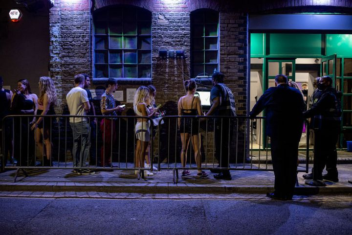 People queuing to get in to the Egg London nightclub in the early hours of July 19.